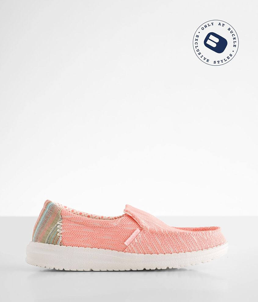 Toddler/Youth - Hey Dude Misty Striped Coral Shoe front view