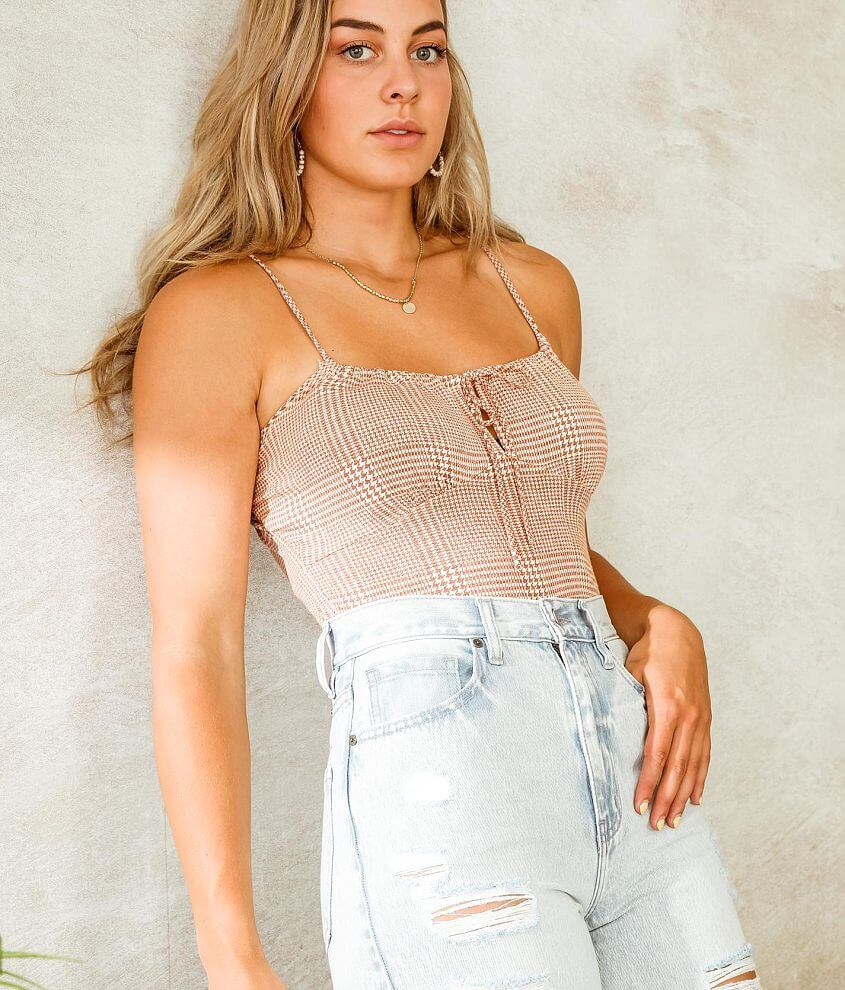 Willow & Root Keyhole Houndstooth Tank Top front view
