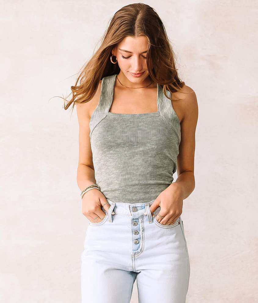 Willow & Root Ribbed Square Neck Tank Top front view