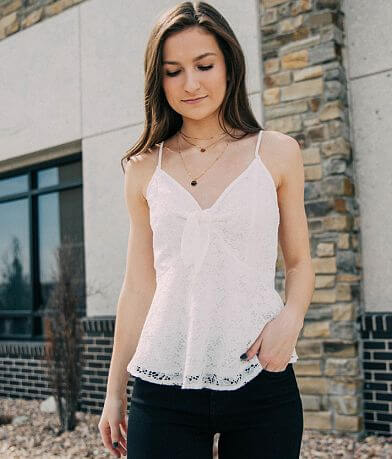 Willow & Root Lace Peplum Tank Top