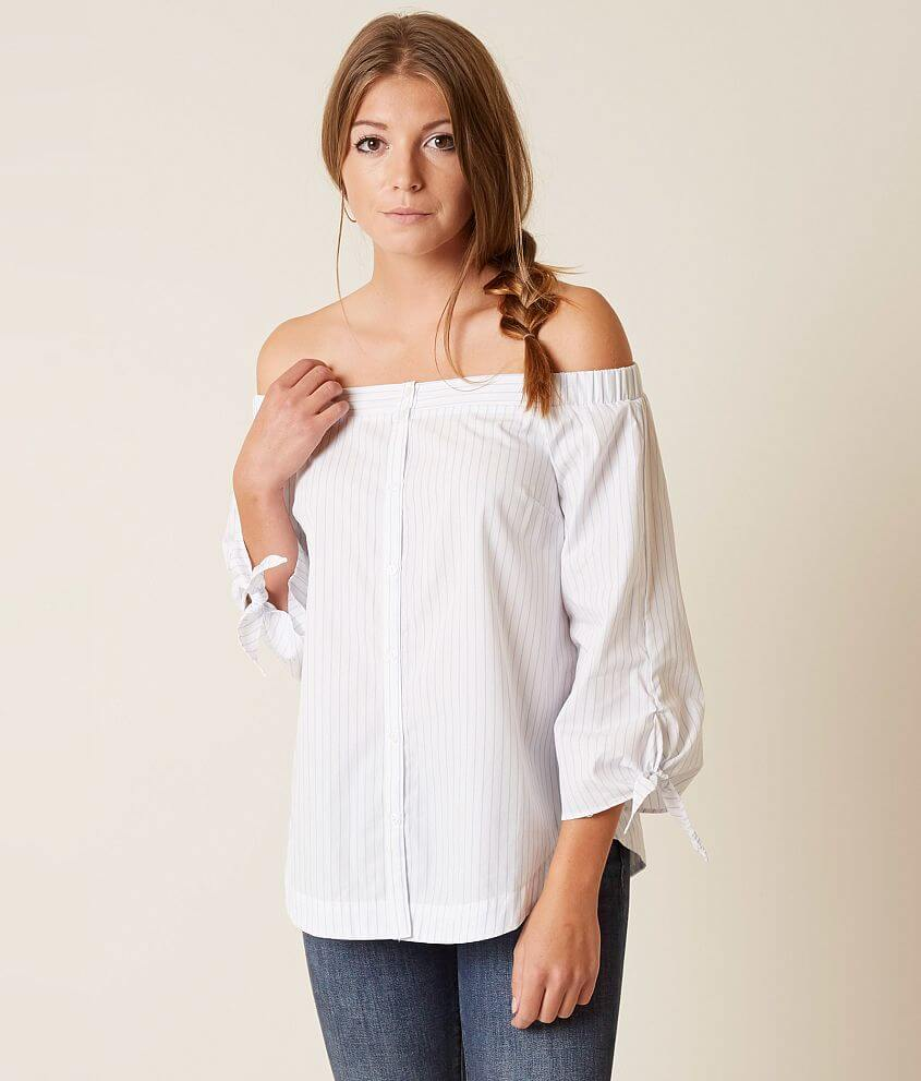 541863d008fa1 Lush Off The Shoulder Top - Women s Shirts Blouses in White Blue ...