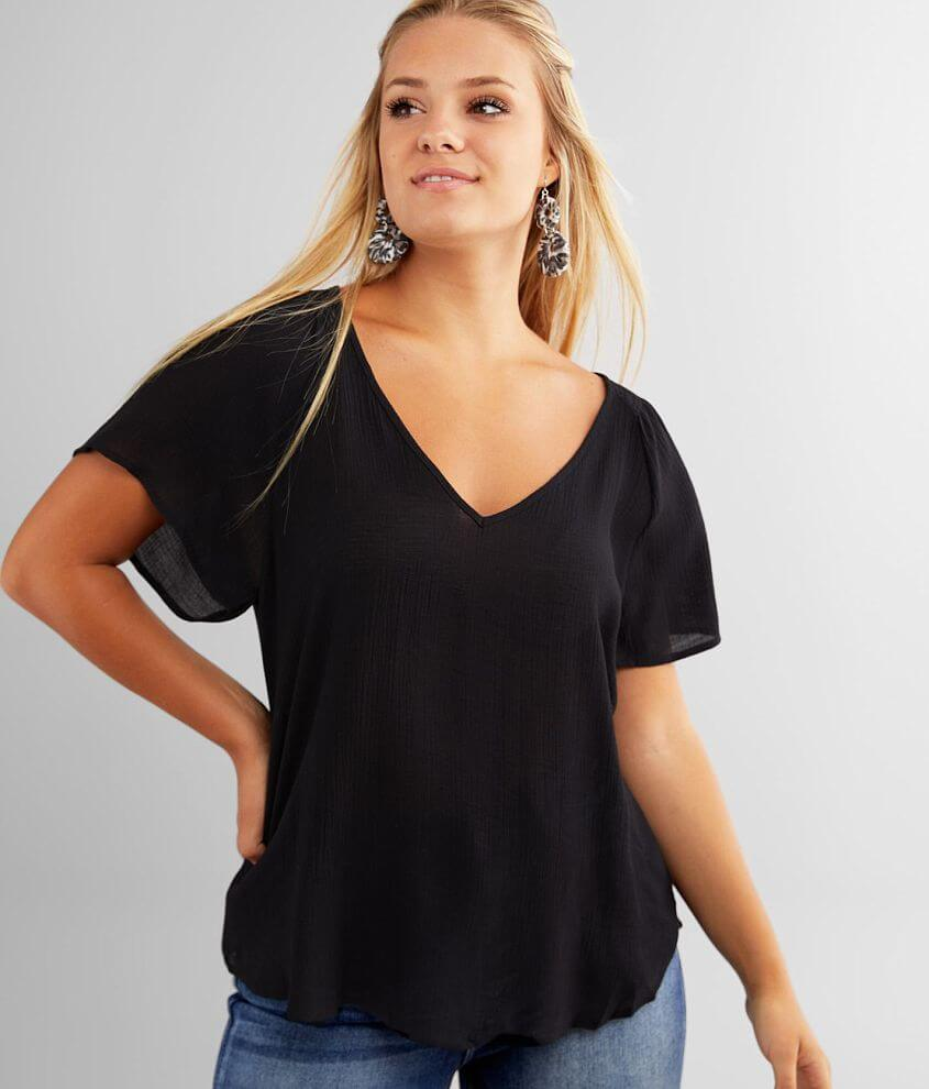 Lush Flowy Woven V-Neck Top front view