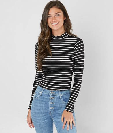 Violet Moon Mock Neck Striped Top