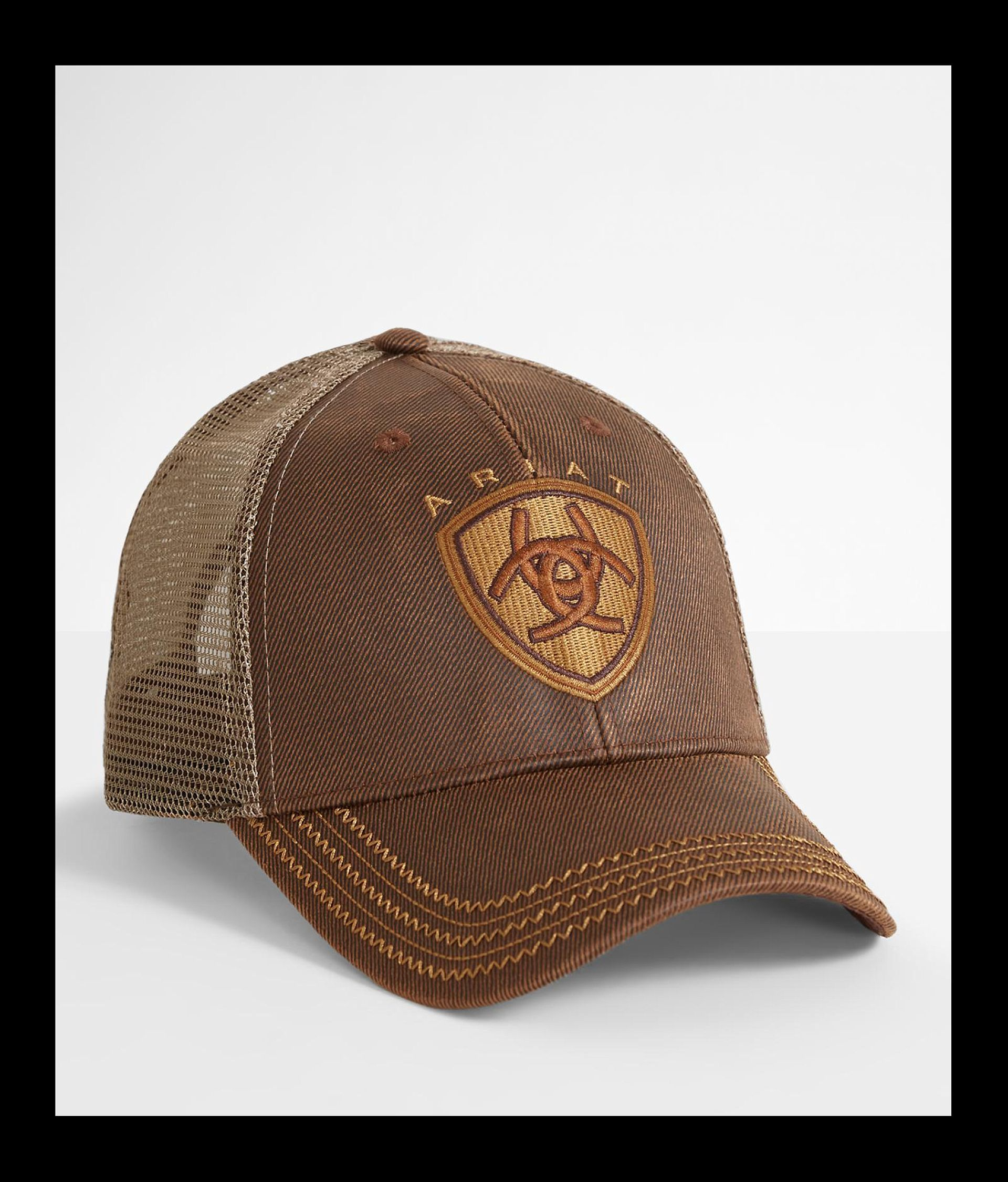 f47d77d25 Ariat Oil Skin Trucker Hat - Men's Hats in Brown | Buckle