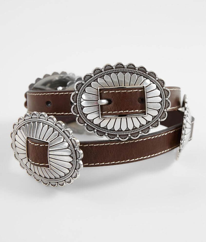 Nocona Metal Conch Leather Belt front view