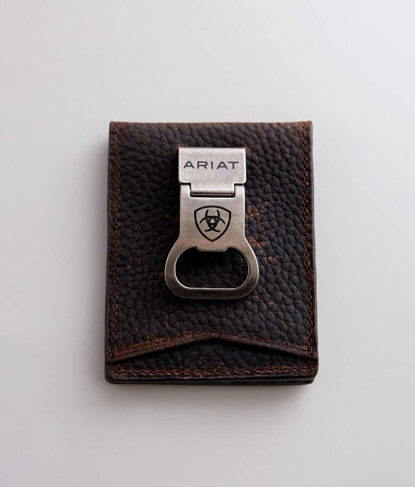 Textured leather bifold wallet Multiple card slots Slim fit design