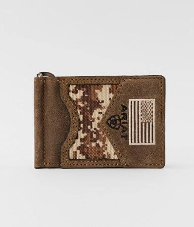 Ariat Digi Camo Leather Card Case Wallet