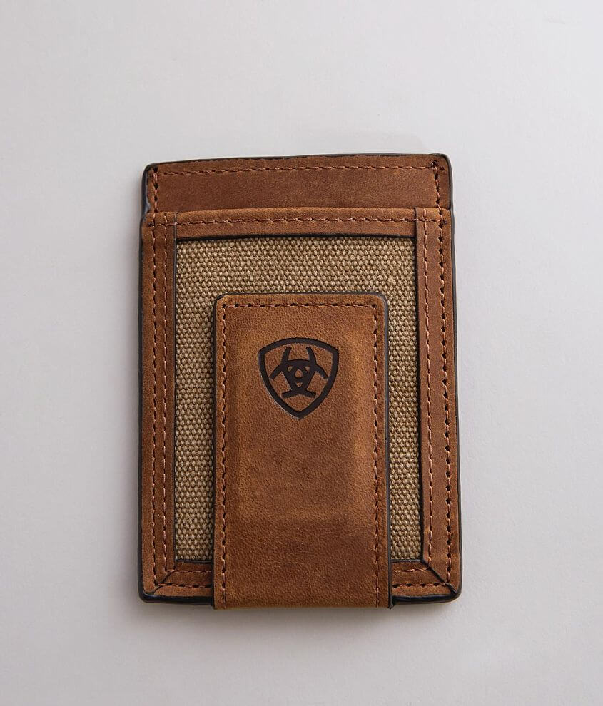Pieced leather and canvas wallet Slim fit design
