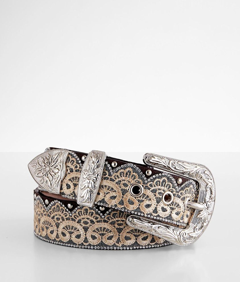 Angel Ranch Embroidered Lace Glitz Leather Belt front view