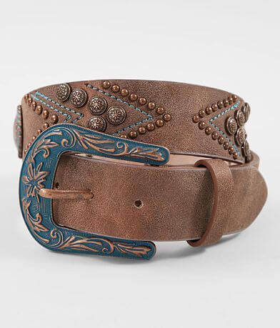 Angel Ranch Turquoise Embroidered Leather Belt