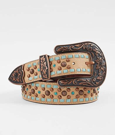 Nocona Weaved Turquoise Leather Western Belt