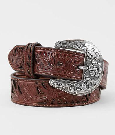 Nocona Tooled Floral Leather Belt