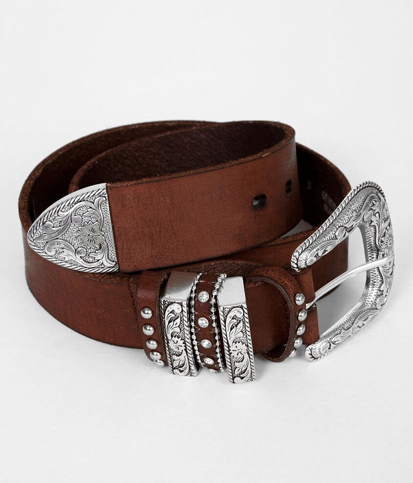Nocona Embossed Leather Belt front view