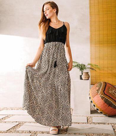 Main Strip Leopard Tiered Maxi Dress