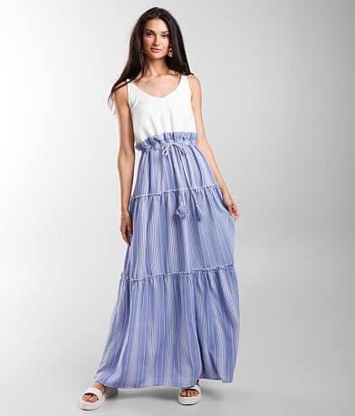 Main Strip Tired Ruffle Maxi Dress