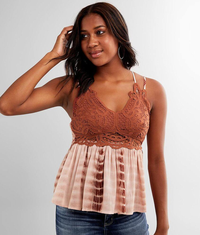 Main Strip Strappy Crochet Tank Top front view