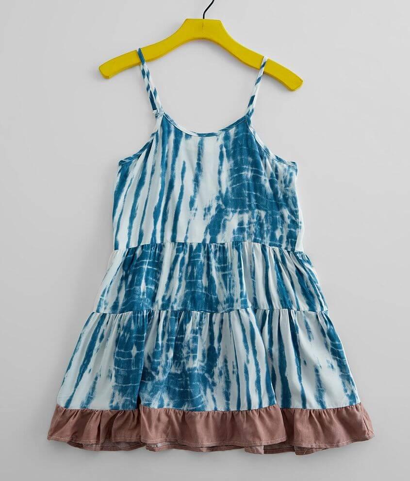 Girls - Vintage Havana Tie Dye Ruffle Dress front view