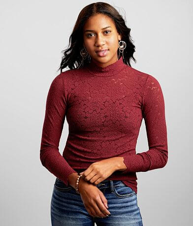 red by BKE Rose Lace Mock Neck Top