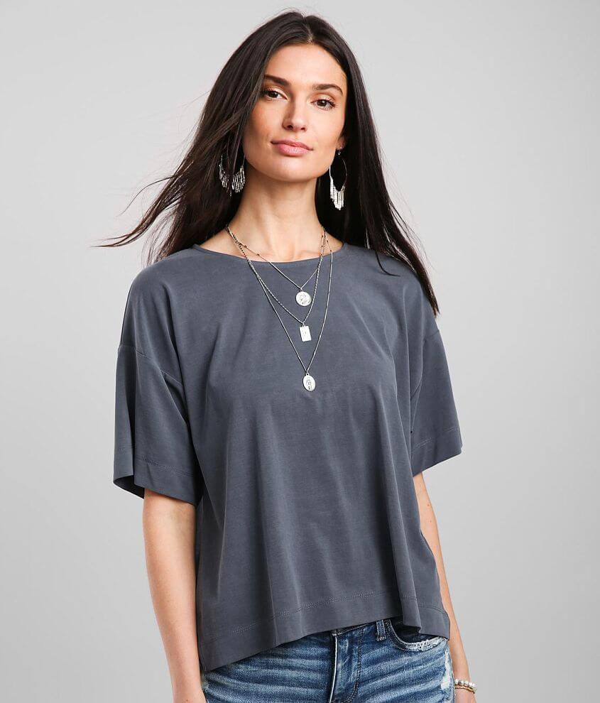 Buckle Black Modal Blend T-Shirt front view