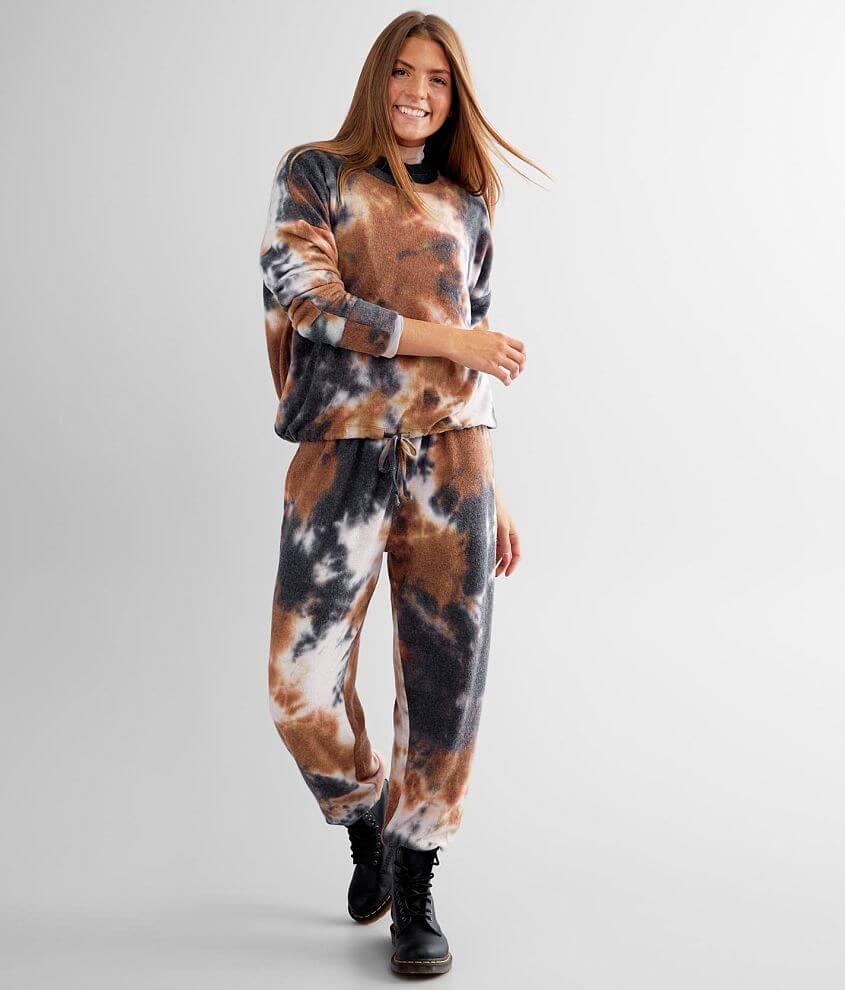 BKE Brushed Fleece Tie Dye Pullover front view