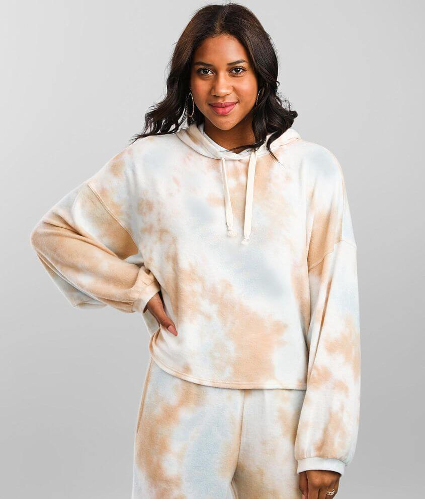 BKE Brushed Knit Oversized Tie Dye Hoodie front view