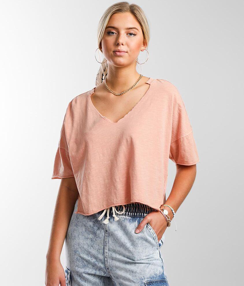 Gilded Intent Split Neck T-Shirt front view