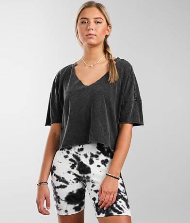 Gilded Intent Split Neck T-Shirt