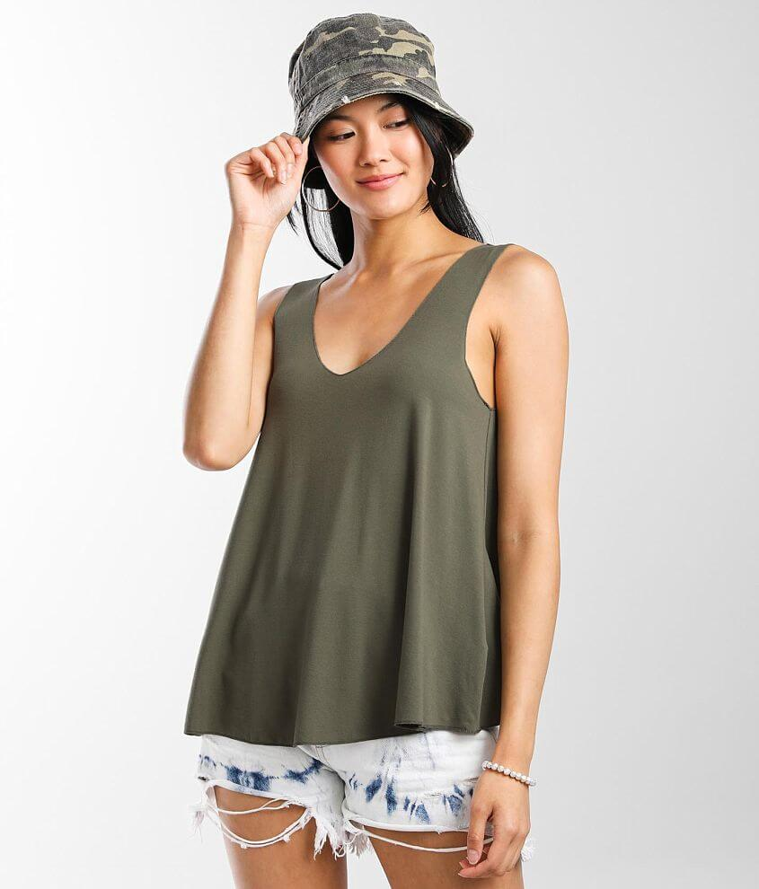 BKE Double V-Neck Tank Top front view