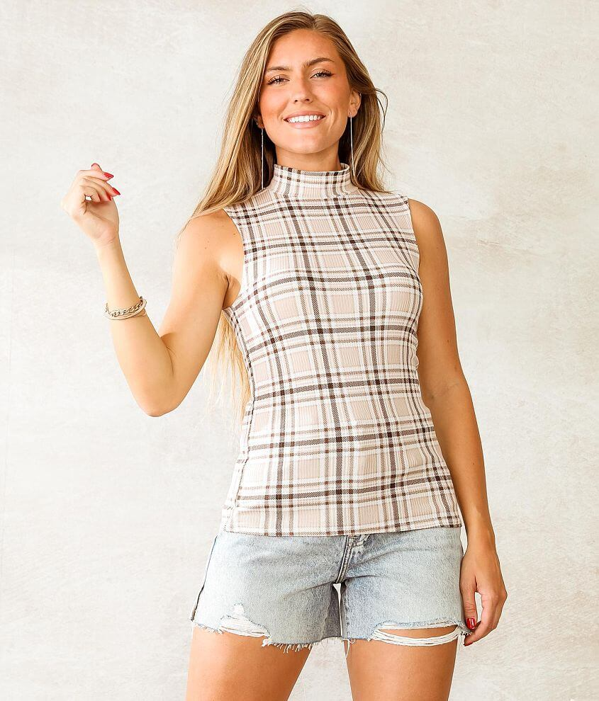 Willow & Root Mock Neck Plaid Tank Top front view