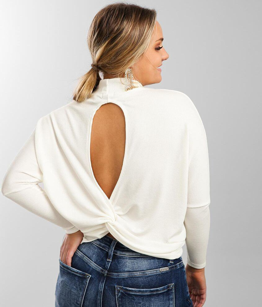 Buckle Black Ribbed Knit Dolman Top front view