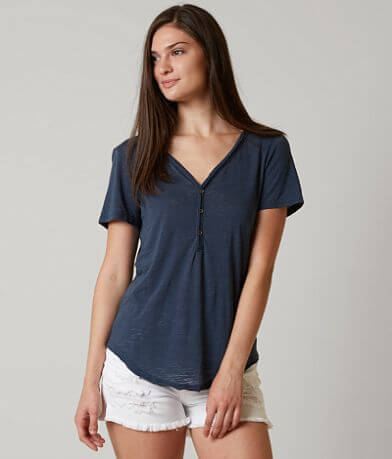 BKE core Raw Edge Henley Top