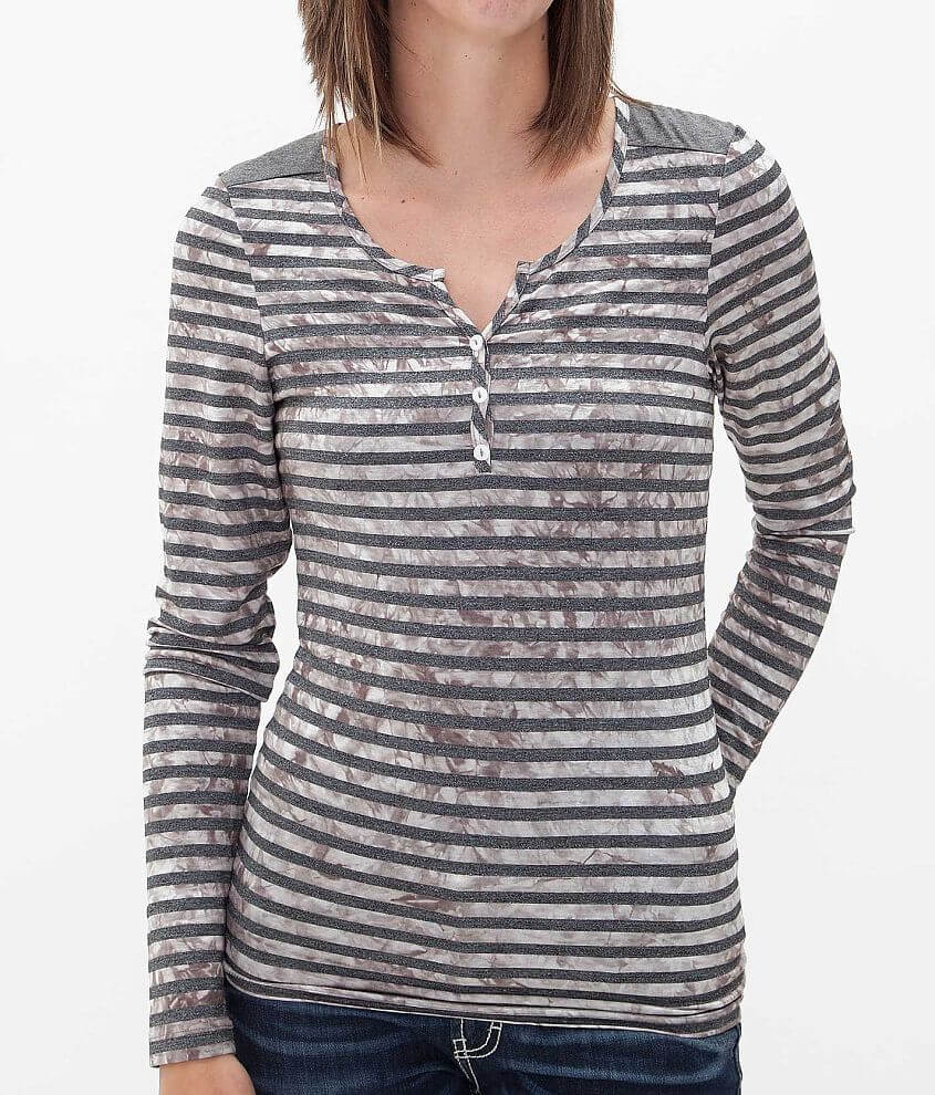 BKE Striped Henley Top front view