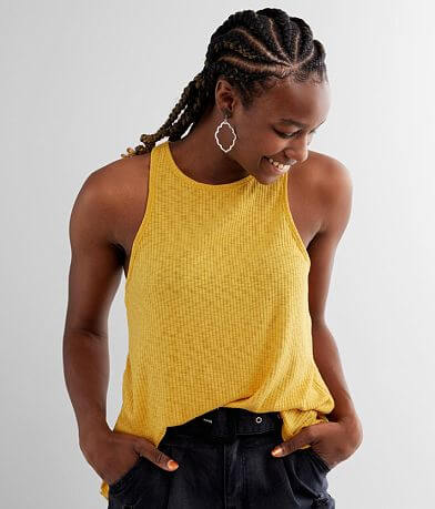 BKE Ribbed High Neck Tank Top