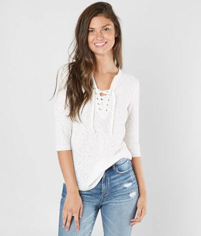 BKE Ribbed Lace-Up Top