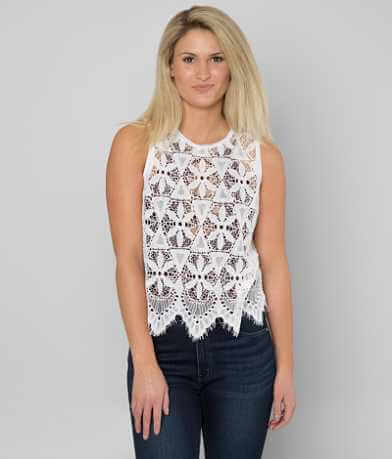 BKE Eyelash Lace Tank Top