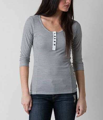 BKE Striped Thermal Henley Top
