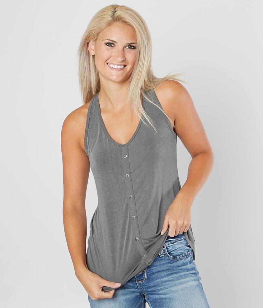 BKE Washed Racerback Tank Top front view