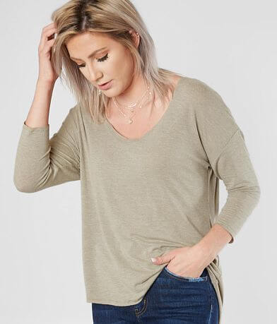 BKE Raw Edge V-Neck Top