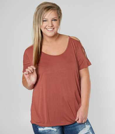 BKE Cold Shoulder Top - Plus Size Only