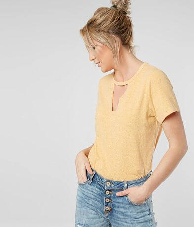 BKE Raw Edge Cut-Out Top