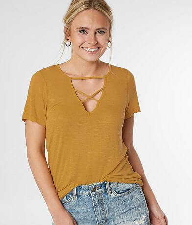 BKE Cut-Out V-Neck Top