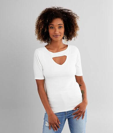 red by BKE Cut-Out Ribbed Top
