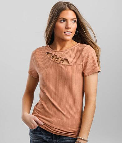 red by BKE Asymmetrical Cut-Out Top