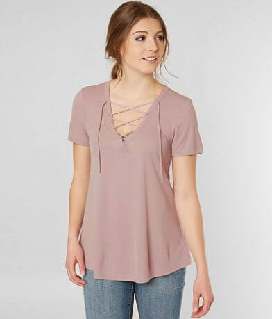 red by BKE Ribbed Top