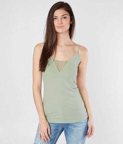 red by BKE Mesh Inset Tank Top
