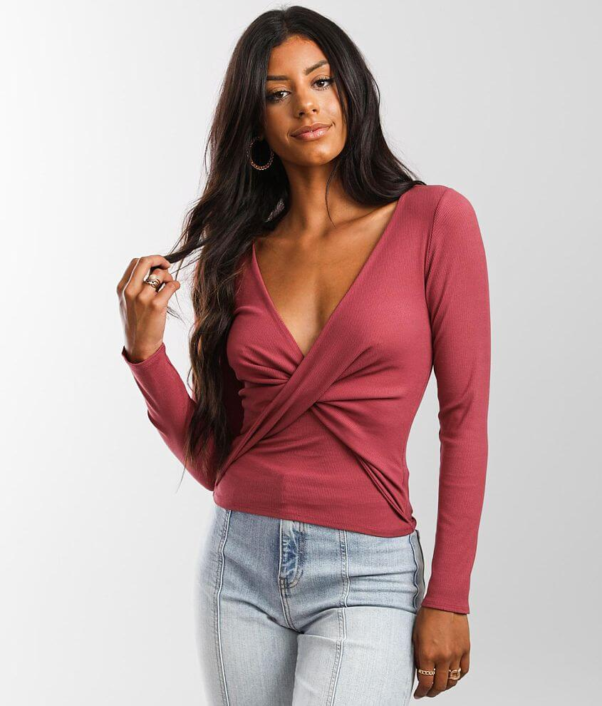 red by BKE Surplice Top front view