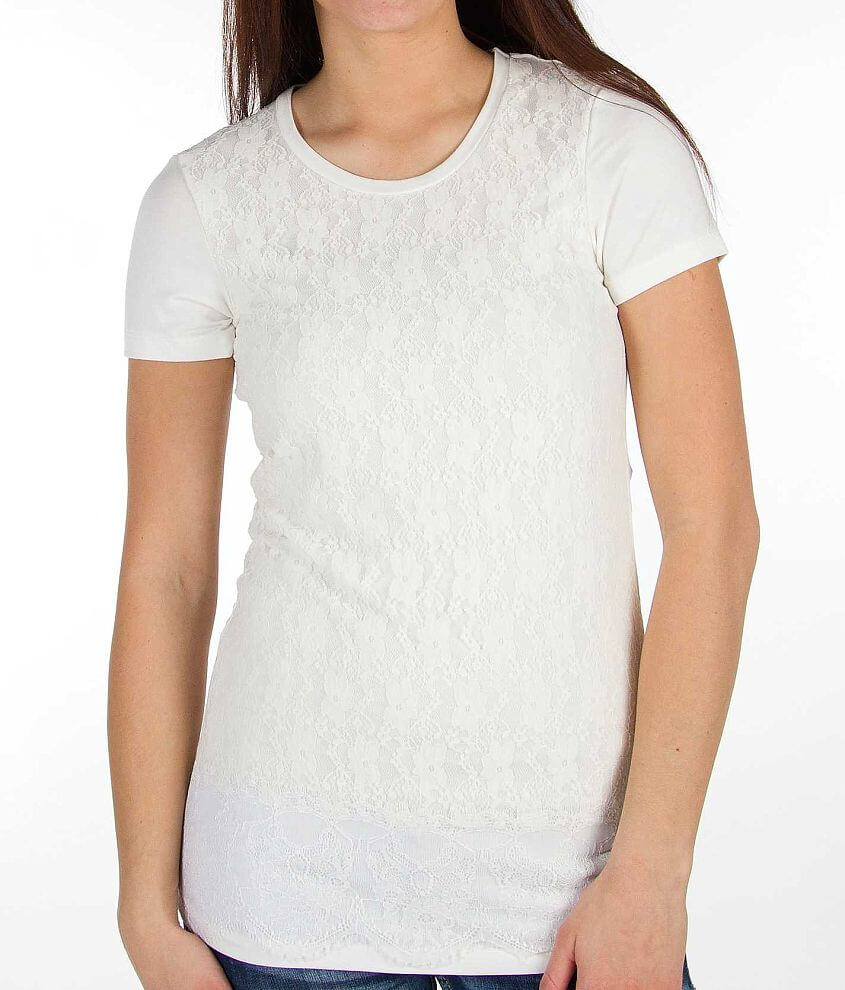 BKE Boutique Floral Lace Overlay Top front view