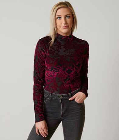 BKE Boutique Mock Neck Cropped Top