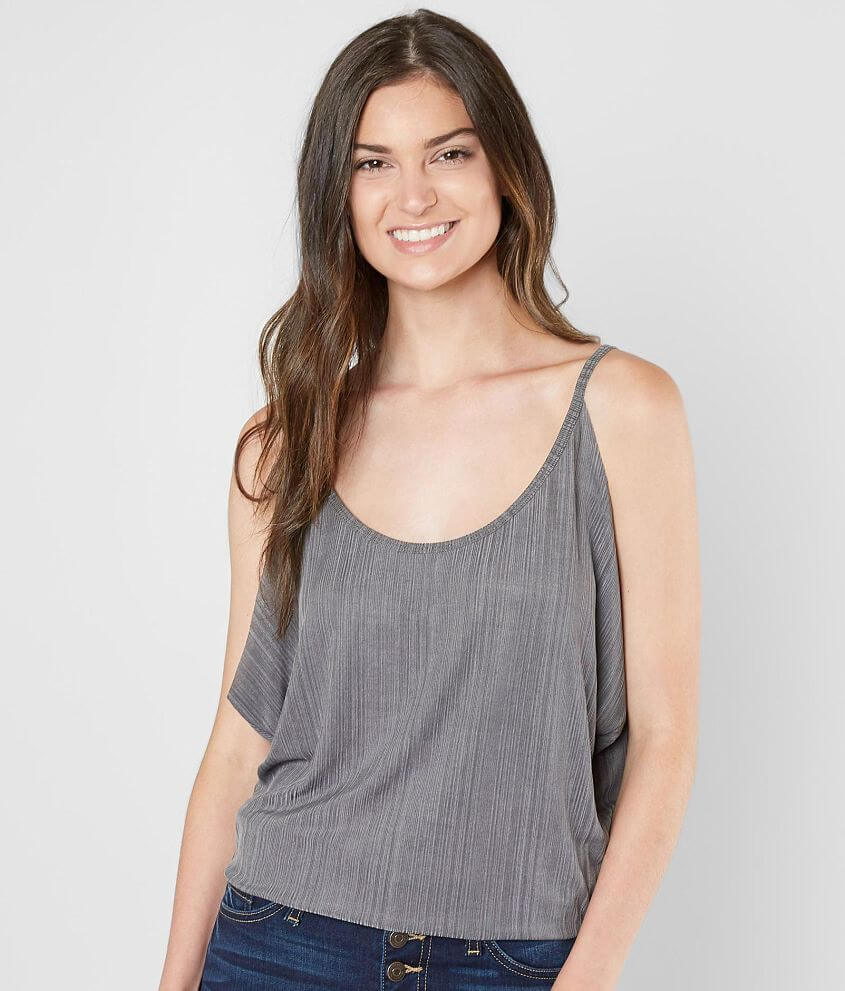 grehy Raw Edge Ribbed Tank Top front view