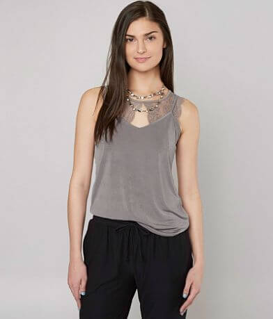 grehy Metallic V-Neck Tank Top